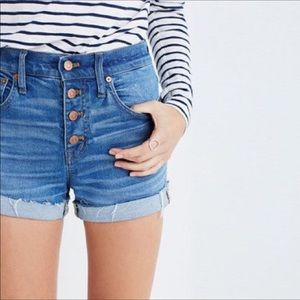 MADEWEL || blue denim high rise button shorts 27